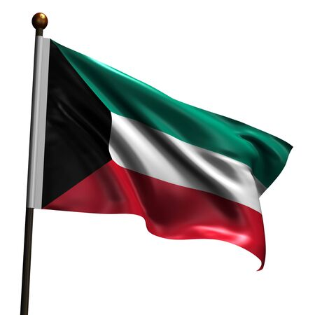Flag of Kuwait. High resolution 3d render isolated on white with fabric texture. photo