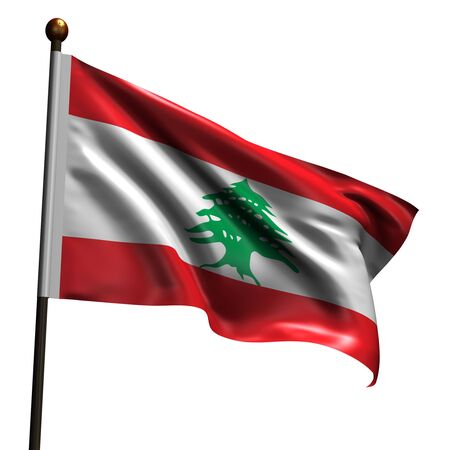 Flag of Lebanon. High resolution 3d render isolated on white with fabric texture. photo
