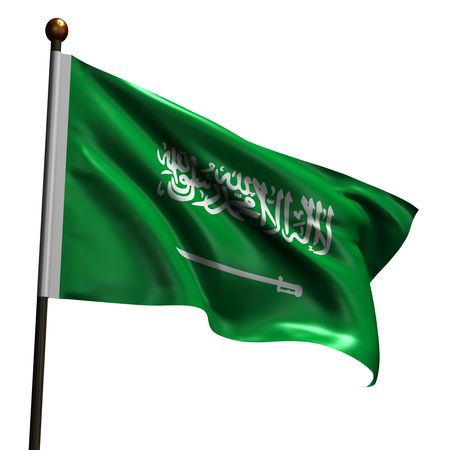 billowing: Flag ofSaudi Arabia. High resolution 3d render isolated on white with fabric texture.