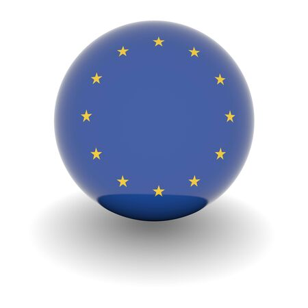 3D Ball with Flag of the European Union. High resolution 3d render isolated on white. photo
