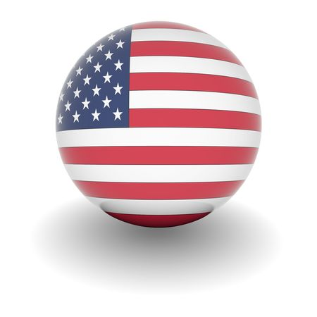 3D Ball with Flag of the USA. High resolution 3d render isolated on white. photo
