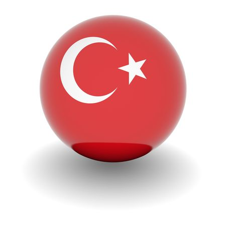 3D Ball with Flag of Turkey. High resolution 3d render isolated on white. photo