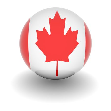 3D Ball with Flag of Canada. High resolution 3d render isolated on white. Stock Photo