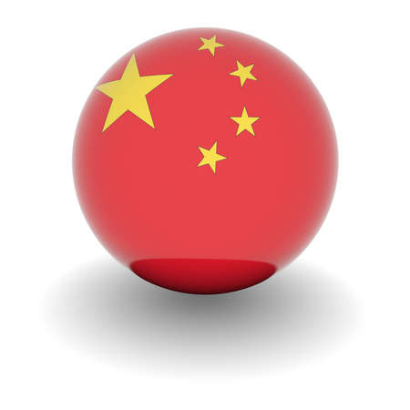 3D Ball with Flag of China. High resolution 3d render isolated on white. Stock Photo