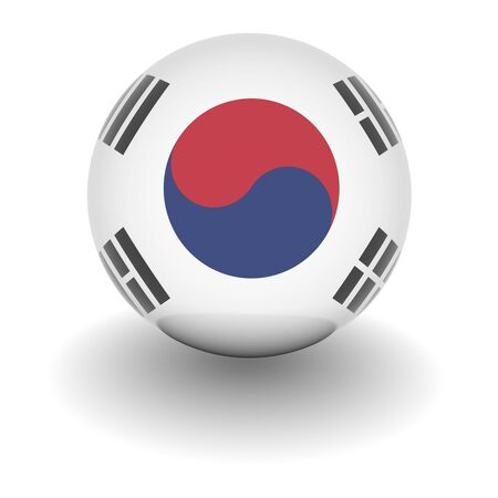 south korea flag: 3D Ball with Flag of South Korea. High resolution 3d render isolated on white. Stock Photo