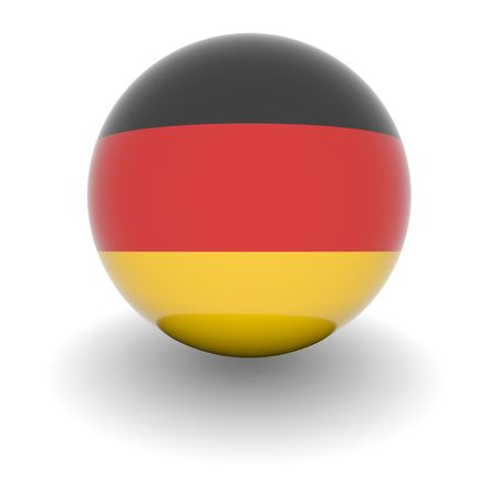 3D Ball with Flag of Germany. High resolution 3d render isolated on white.