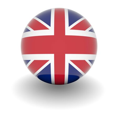 3D Ball with Flag of the United Kingdom. High resolution 3d render isolated on white. Stock Photo
