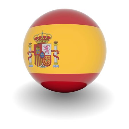 3D Ball with Flag of Spain. High resolution 3d render isolated on white.