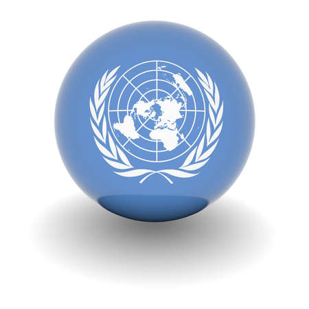 organization design: 3D Ball with Flag of the United Nations. High resolution 3d render isolated on white.