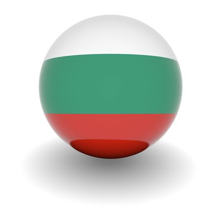 3D Ball with Flag of Bulgaria. High resolution 3d render isolated on white. photo