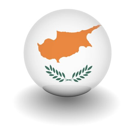 3D Ball with Flag of Cyprus. High resolution 3d render isolated on white. photo