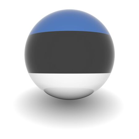 3D Ball with Flag of Estonia. High resolution 3d render isolated on white. photo