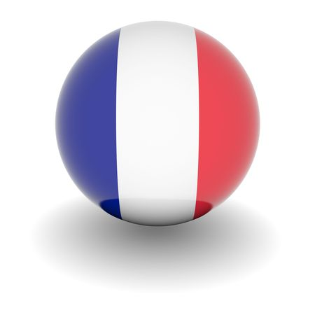 3D Ball with Flag of France. High resolution 3d render isolated on white.