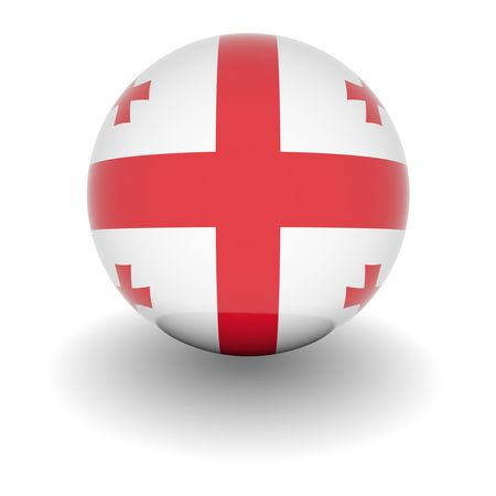 3D Ball with Flag of Georgia. High resolution 3d render isolated on white. photo