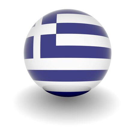 greek flag: 3D Ball with Flag of Greece. High resolution 3d render isolated on white. Stock Photo