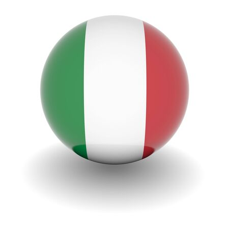 3D Ball with Flag of Italy. High resolution 3d render isolated on white. Stock Photo