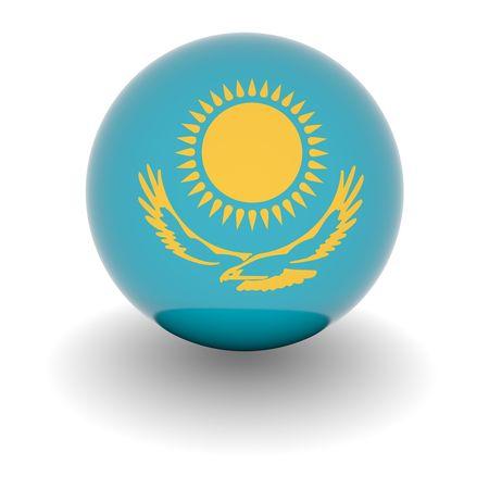 kazakhstan: 3D Ball with Flag of Kazakhstan. High resolution 3d render isolated on white.