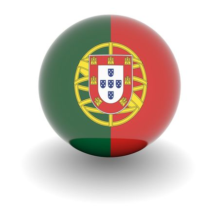 portugal flag: 3D Ball with Flag of Portugal. High resolution 3d render isolated on white.