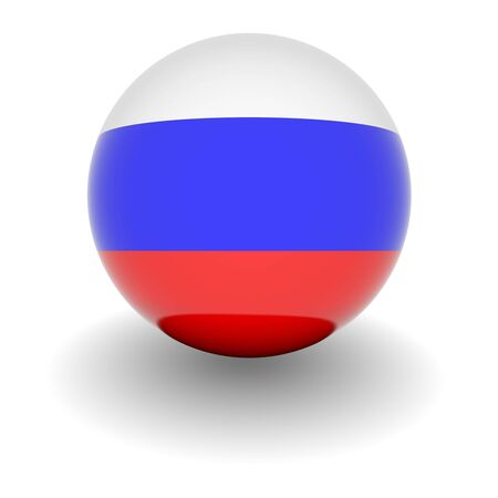 3D Ball with Flag of Russia. High resolution 3d render isolated on white. photo