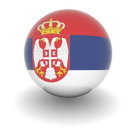 3D Ball with Flag of Serbia. High resolution 3d render isolated on white. Stock Photo