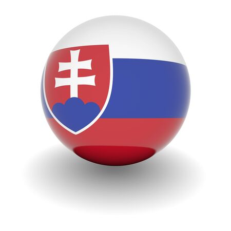 3D Ball with Flag of Slovakia. High resolution 3d render isolated on white. photo