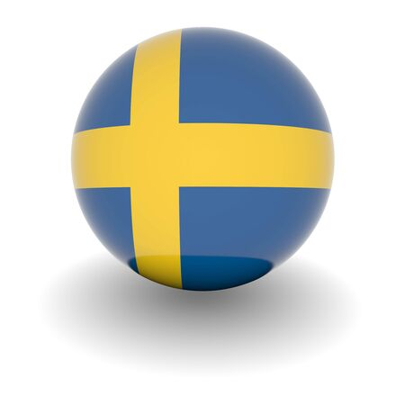 sweden flag: 3D Ball with Flag of Sweden. High resolution 3d render isolated on white.