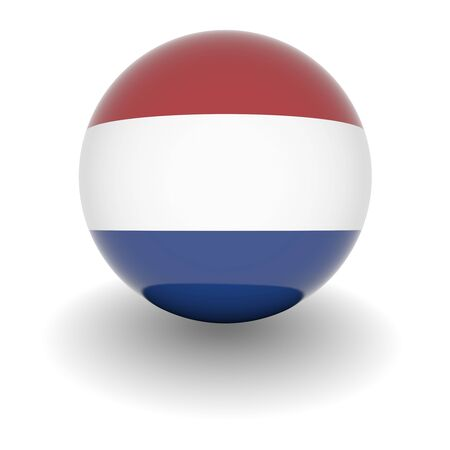 3D Ball with Flag of the Netherlands. High resolution 3d render isolated on white. photo