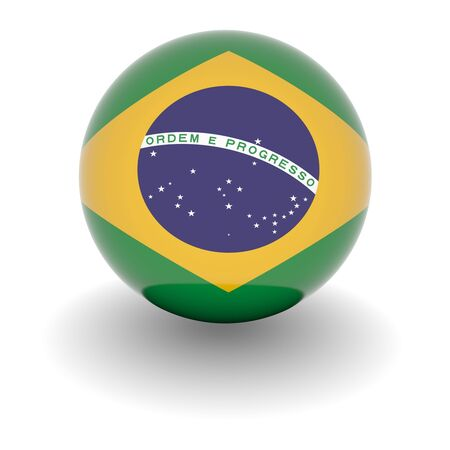 3D Ball with Flag of Brazil. High resolution 3d render isolated on white.