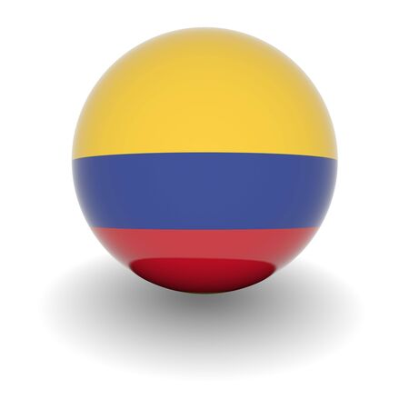 3D Ball with Flag of Colombia. High resolution 3d render isolated on white.