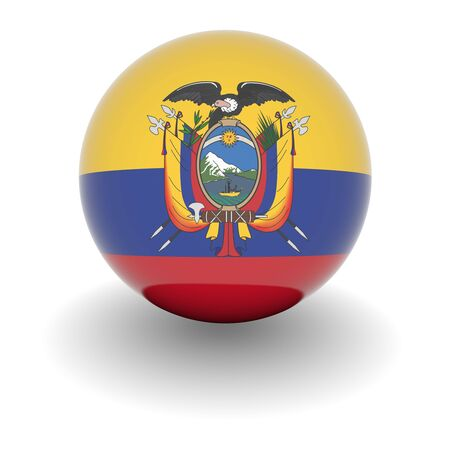 3D Ball with Flag of Ecuador. High resolution 3d render isolated on white.