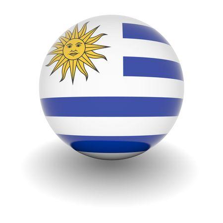 bandera de uruguay: 3D Ball con Bandera de Uruguay. 3D de alta resoluci�n hacen aislados en blanco.