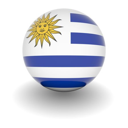 3D Ball with Flag of Uruguay. High resolution 3d render isolated on white. Stock Photo