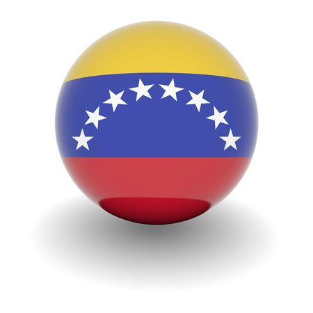 3D Ball with Flag of Venezuela. High resolution 3d render isolated on white.