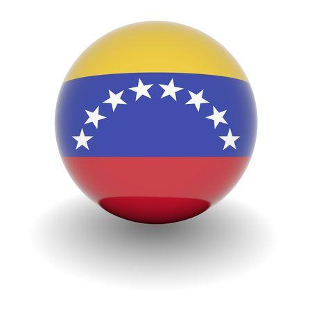 bandera de venezuela: Ball 3D con la bandera de Venezuela. Procesamiento 3d de alta resoluci�n aislado en blanco. Foto de archivo