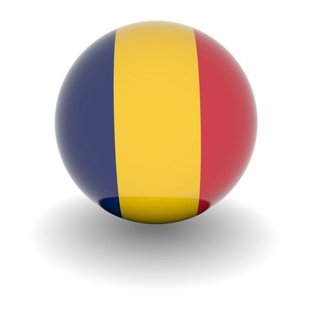 chad: 3D Ball with Flag of Chad. High resolution 3d render isolated on white. Stock Photo