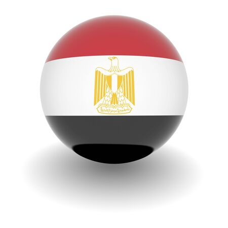 3D Ball with Flag of Egypt. High resolution 3d render isolated on white. photo