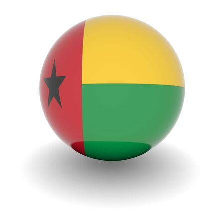 bissau: 3D Ball with Flag of Guinea Bissau. High resolution 3d render isolated on white.
