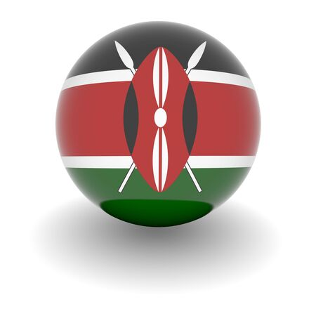 kenya: 3D Ball with Flag of Kenya. High resolution 3d render isolated on white.