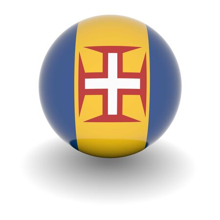 madeira: 3D Ball with Flag of Madeira. High resolution 3d render isolated on white. Stock Photo