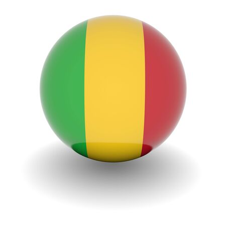 3D Ball with Flag of Mali. High resolution 3d render isolated on white. Stock Photo - 5410068