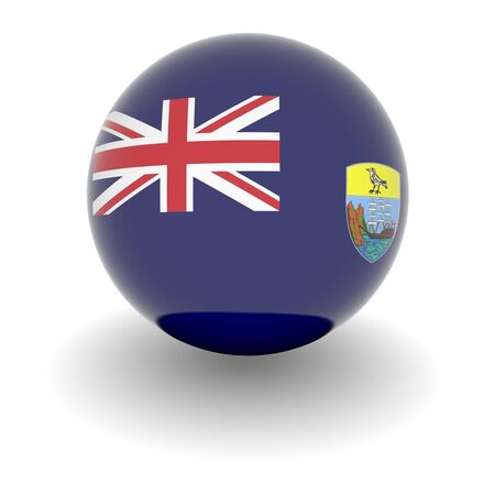 helena: 3D Ball with Flag of Saint Helena. High resolution 3d render isolated on white. Stock Photo