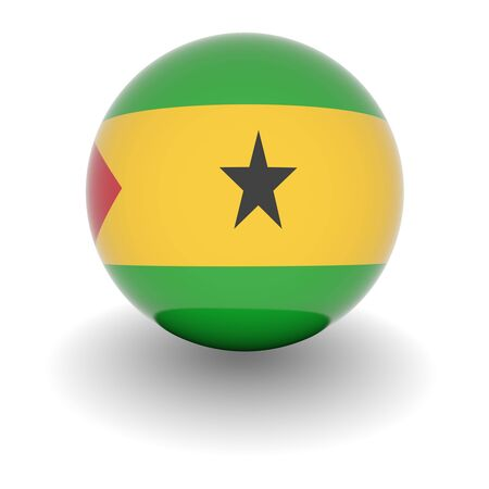 tome: 3D Ball with Flag of Sao Tome and Principe. High resolution 3d render isolated on white.