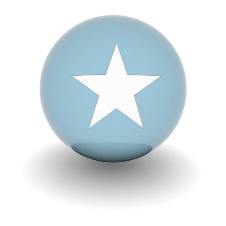 3D Ball with Flag of Somalia. High resolution 3d render isolated on white. photo
