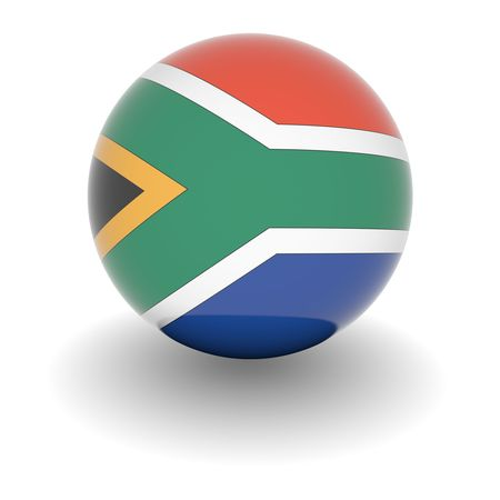south africa flag: 3D Ball with Flag of South Africa. High resolution 3d render isolated on white.