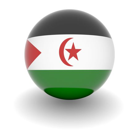 3D Ball with Flag of Western Sahara. High resolution 3d render isolated on white. photo