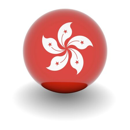 3D Ball with Flag of Hong Kong. High resolution 3d render isolated on white.