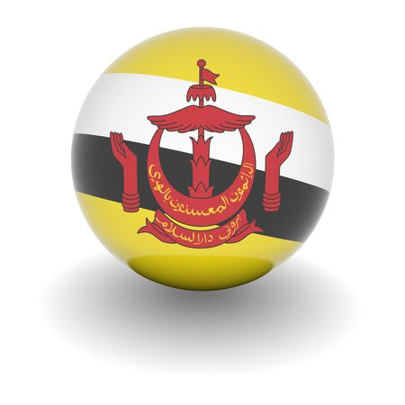 brunei: 3D Ball with Flag of Brunei. High resolution 3d render isolated on white.