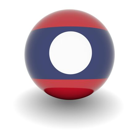 3D Ball with Flag of Laos. High resolution 3d render isolated on white.