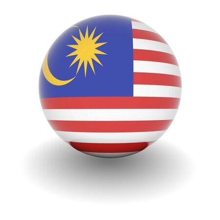 3D Ball with Flag of Malaysia. High resolution 3d render isolated on white.