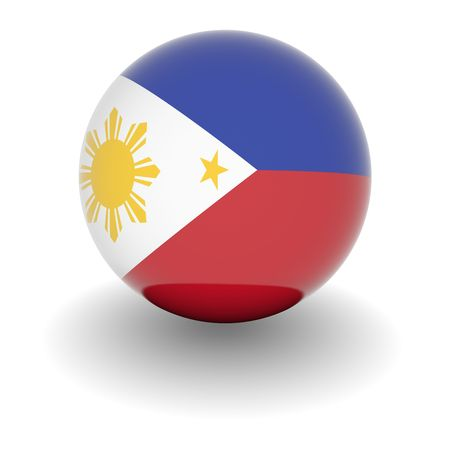 3D Ball with Flag of the Philippines. High resolution 3d render isolated on white.